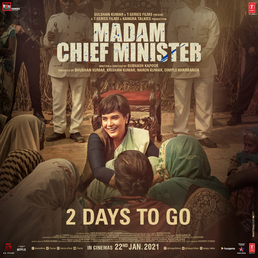 It's time we witness the biggest turn of events in the story of Indian Politics! 2 days to go for #MadamChiefMinister! Stay tuned!   @saurabhshukla_s #ManavKaul @TSeries #BhushanKumar #KrishanKumar @subkapoor @KangraTalkies @jollynarenkumar @dkh9