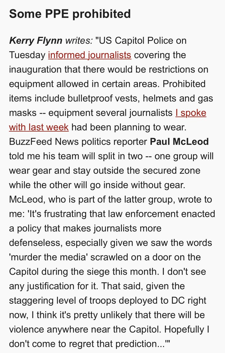 """^ Thanks to @pdmcleod for sharing more re BuzzFeed News' plan for inauguration given new restrictions  """"It's frustrating that law enforcement enacted a policy that makes journalists more defenseless, especially given we saw the words 'murder the media'""""  https://t.co/tWygPOB6E4 https://t.co/BS5ZfibOFS"""