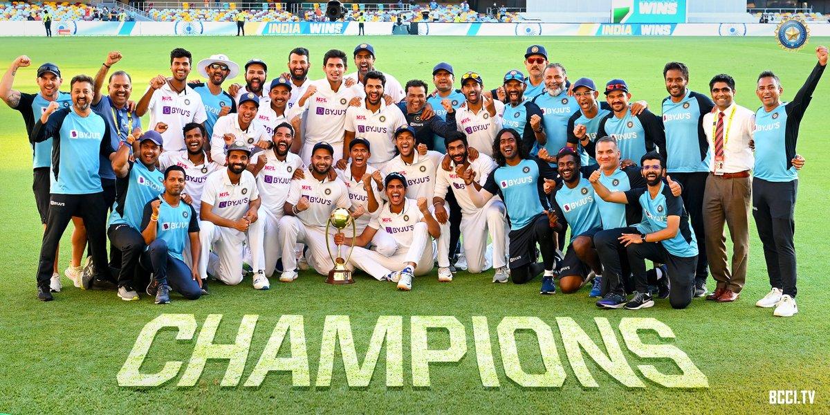 Congratulations team india👏👏  Well played Team India , especially contributed @cheteshwar1 @RishabhPant17 stand up at the another edge like rock   Incredible India   #INDvsAUS  #AjinkyaRahane   #RahulDravid  #IndiaWins  #ChakDeIndia #BCCI  #Pant #Pujara #brisbanetest #BleedBlue