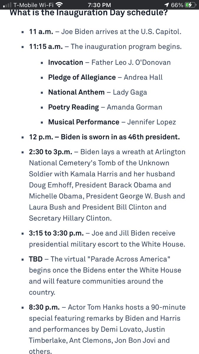 Timeline of #Inauguration2021