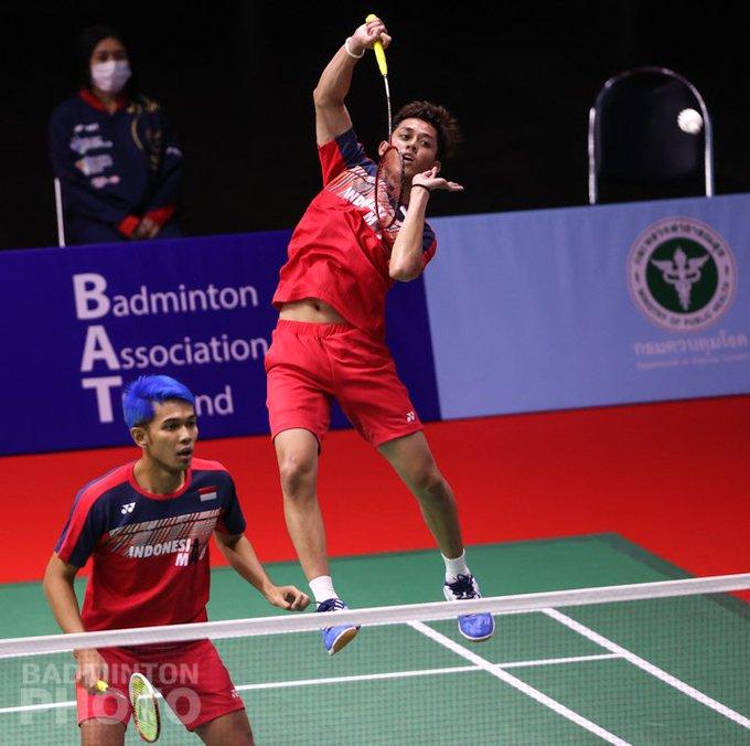 Ganda Putra Indonesia Fajar Alfian/Muhammad Rian Ardianto kalah saat menghadapi Ganda Putra Inggris en Lane/Sean Vendy