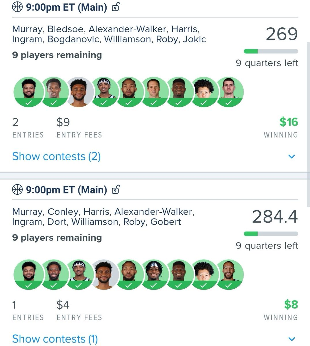 @RotoRadarCEO and @RotoRadarRiemer are just insanely on fire. WE ARE STREAKING!!!!!! What's cooler is that I have .24 cents in the 4$ GPP. Won them with....yep @RotoRadarCEO and @RotoRadarRiemer lineups. @jaredrblock drops dimes in the podcast and #30tolock as well. #RotoRadarNBA