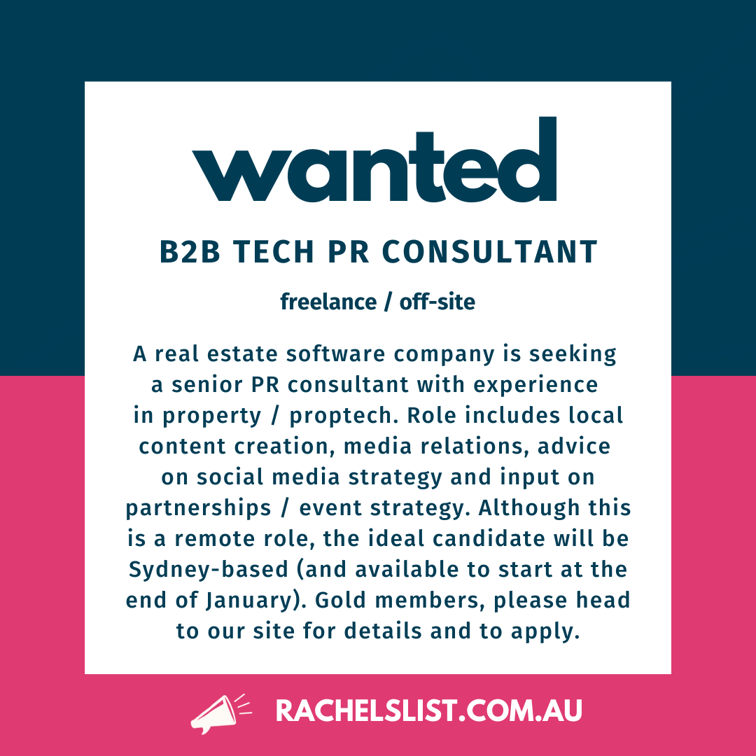RE-POST: Senior B2B Tech freelance PR consultant wanted (OFF-SITE)  #prjobs #rachelslistjobs
