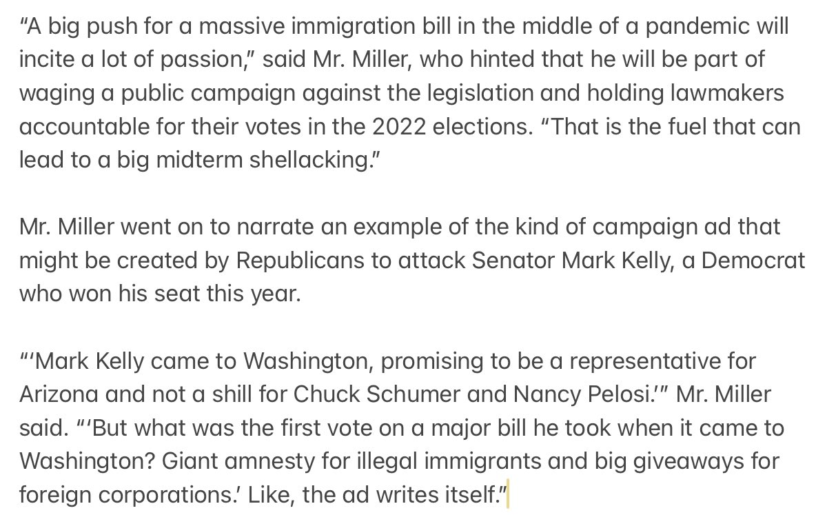Miller asserted that Biden's immigration bill could be a political loser — though he made similar predictions before Republicans were routed in the 2018 midterms. https://t.co/FQMowNBV1l