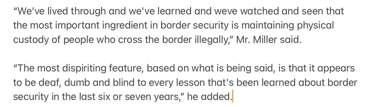 And he voiced again his belief — put into practice by the gutting of the asylum system and the separation of families at the border — that border security is about detaining people. https://t.co/FXXHdVW0M9