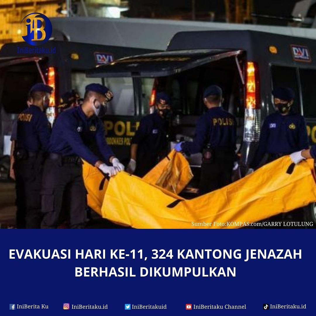 Tim SAR  berhasil mengumpulkan 324 kantong jenazah pada hari ke-11 proses evakuasi jatuhnya pesawat Sriwijaya Air SJ-182. Terdapat penambahan 14 kantong jenazah yang dibawa tim SAR dari perairan Kepulauan Seribu. #sriwijayaair #sj182 #iniberita #iniberitaku #iniberitakuid