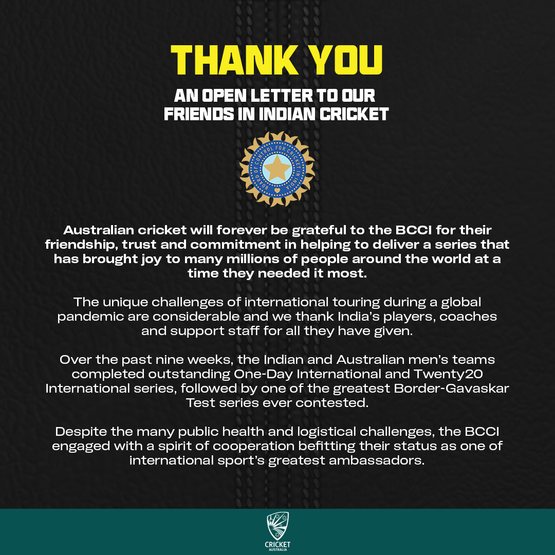 An open letter to our friends in Indian Cricket, and to everyone who played their part to help deliver this memorable series! 🤜🤛 @BCCI