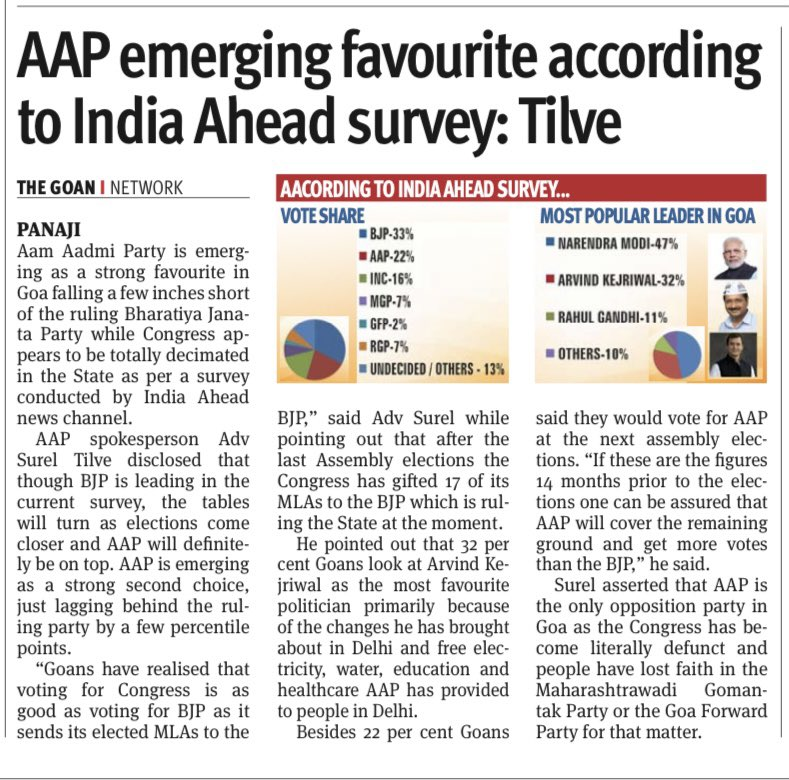 Replying to @ValmikiNaik: Goa is poised to choose the @AamAadmiParty model of governance in 2022.