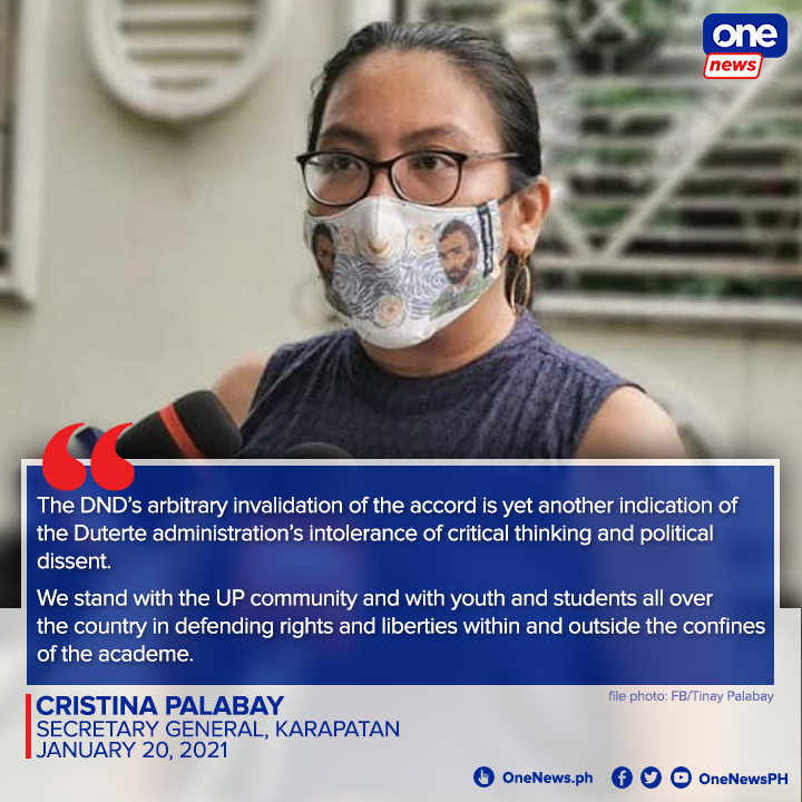 By terminating the UP-DND Accord, Defense Sec. Delfin Lorenzana is outright red-tagging the entire community of the University of the Philippines, says Karapatan Sec. Gen. Cristina Palabay.