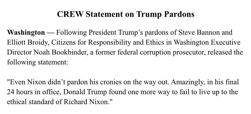 """Ethics watchdog @CREWcrew on the pardons: """"Donald Trump found one more way to fail to live up to the ethical standard of Richard Nixon."""""""