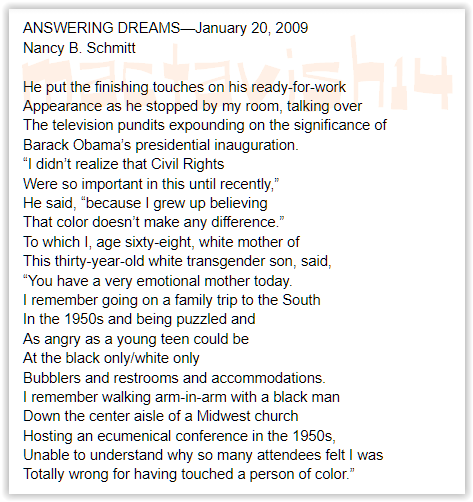 I was completely unfazed by Barack Obama's 2009 presidential inauguration--in a great way--because I was taught to judge a person's character and not their skin. My Mom captured the moment in a poem. She passed in 2013. @joebiden @kamalaharris #bidenharris #bidenharris2020