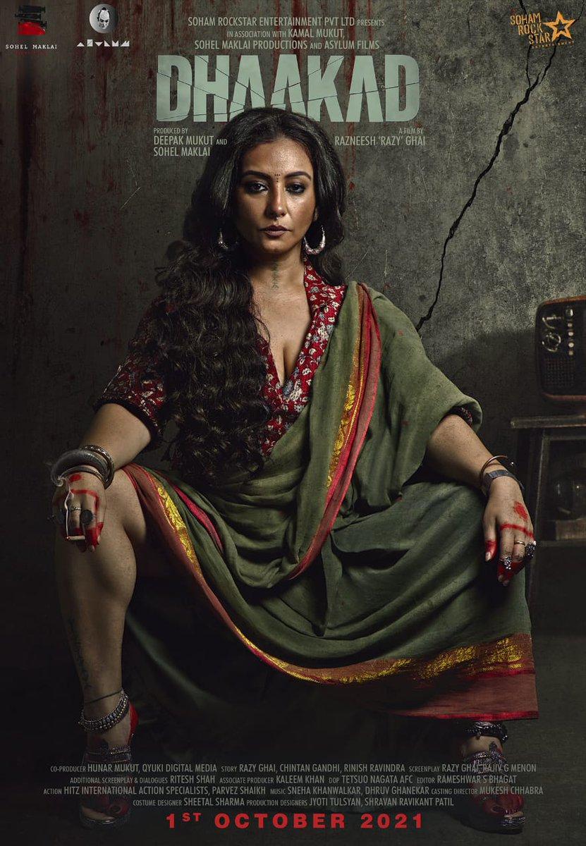 #DHAAKAD: NEW POSTER... #DivyaDutta in #Dhaakad... Stars #KanganaRanaut and #ArjunRampal... Directed by Razneesh 'Razy' Ghai... Produced by Deepak Mukut and Sohel Maklai... 1 Oct 2021 release [#GandhiJayanti weekend].