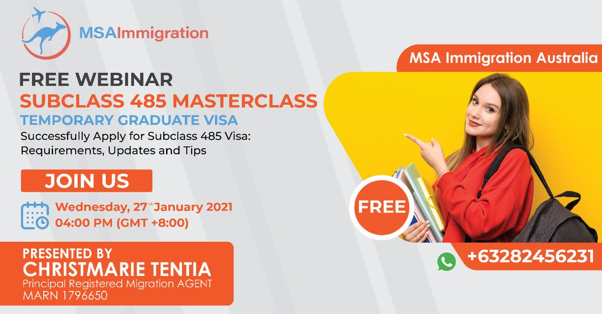 #FREEWEBINAR: #Australia  Know about: Your eligibility for 485 #visa. The requirements and costs involved. The length of the #visa, #work  #rights, and #conditions under 485 visa. Which 485 visa pathway is more suitable for you.  Get Register
