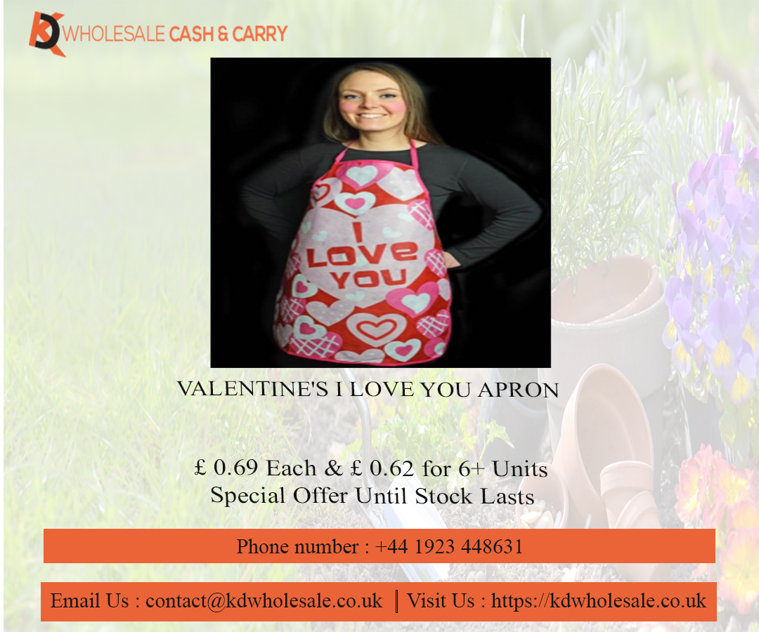 VALENTINE'S I LOVE YOU APRON - KD Wholesale Cash & Carry    #valentine #love #heart #healthbeautycareproducts #babycare #accessories, #kdwholesaleuk, #BuyDecorLightingAccessoriesonlineinuk, #KDWholesaleCashandCarry #gift #party #giftparty #giftideas #party