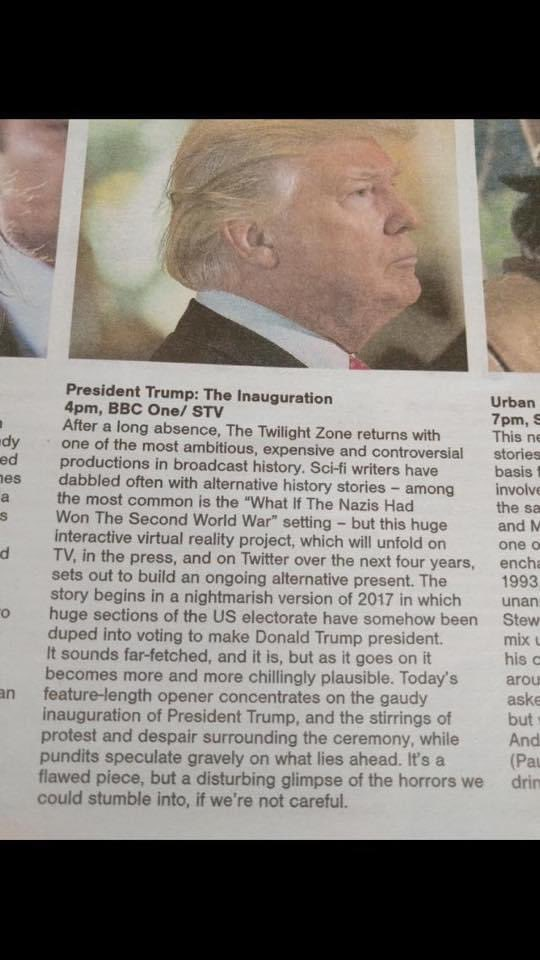 4 years ago, @BBCNews' brilliant blurb for their televised coverage of Trump's inauguration. And boy oh boy, did the horrors unfold.  Congratulations on a brand new dawn America 🇺🇸 #InaugurationDay #BidenHarris2020
