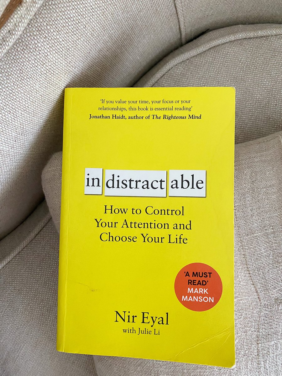 """Indistractable by Nir Eyal This book is more about how to take control of the distraction and make it into something that will benefit you and make you more present in the moment. I'd recommend another book by him called """"Hooked""""."""