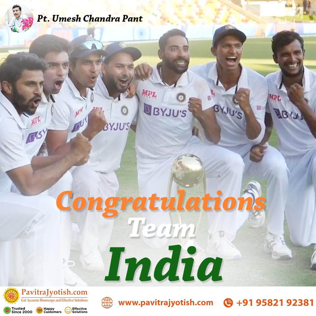 Congratulations Team India ****** #TeamIndia #Gabbawin #Indiancricket #Indiancricketvictory  #BorderGavaskarTrophy #GabbaTest #Gabba #INDvsAUS #IndianCricketTeam #IndiaWins @Pavitrajyotish