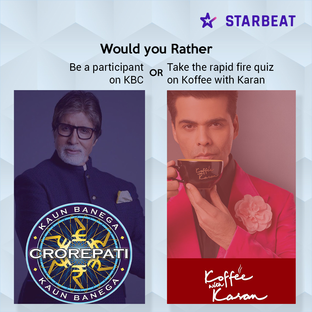 Are you an ardent celebrity buff? Join StarBeat for fun polls and trivia.  #starbeat #starbeatapp #kbc #actor #celebrity #indiancinema #stardubs #AmitabhBachan #koffeewithkaran #karanjohar #bollywood #bollywoodactors #indiantelevisionshow #tvshows