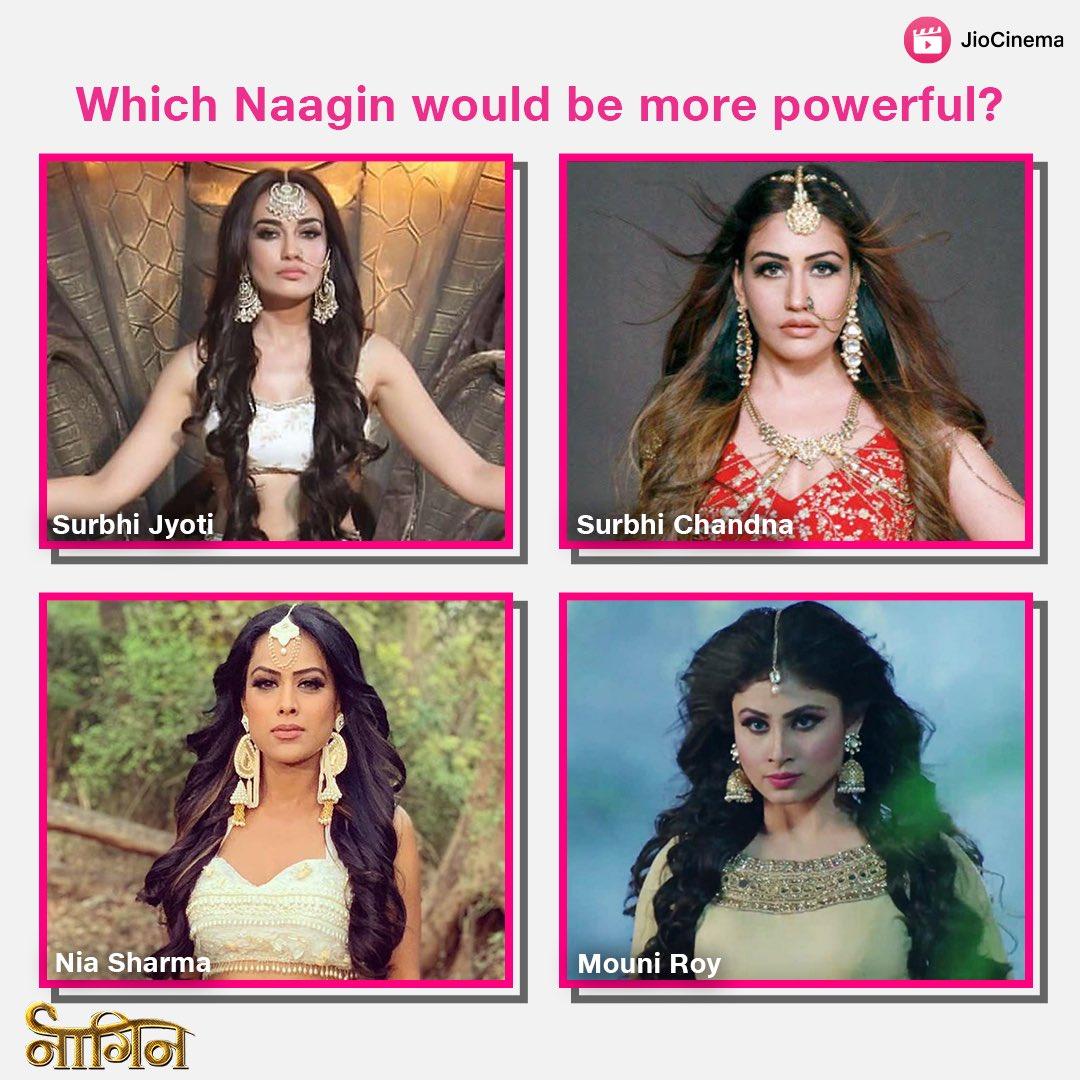 Kaunsi #Naagin mein hai zyada Shakti? 🐍 💪🏼  🔁RT for #SurbhiChandna, ❤️LIKE for #NiaSharma, 💬comment for #MouniRoy and #SurbhiJyoti!   #naagin5 #naagin4 #naagin3 #wednesdayvibes #wednesdaythoughts