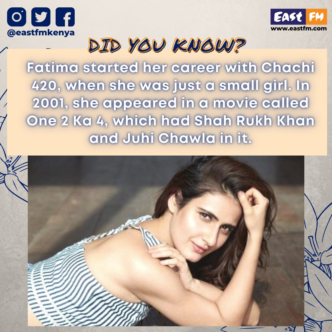 Fatima started her career with a #blockbustermovie, #Chachi420, when she was just a small girl. In 2001, she appeared in a movie called #One2Ka4, which had #ShahRukhKhan and #JuhiChawla in it. • • • #FatimaSanaShaikh #FatimaSana #FatimaShaikh #BabitaPhogat #Bollywood #EastFm