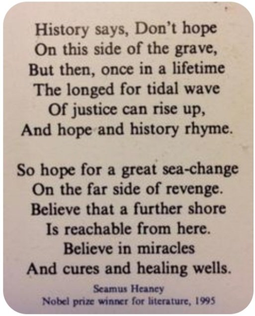 For the day that's in it...for the first wee glimmer of hope....for Great Irish Poets 🍀🇺🇲 #BidenHarrisInauguration  #seamusheaney