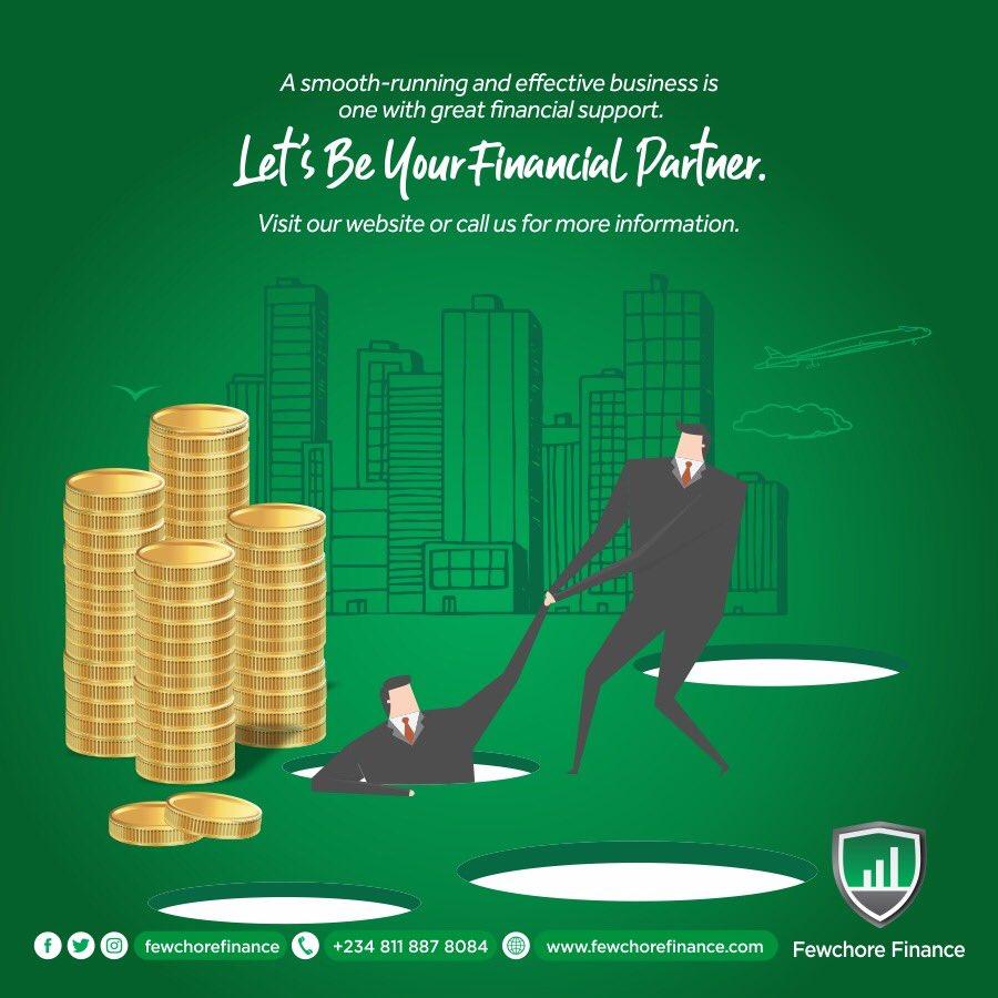 Let's be your financial partner.  #fewchorefinance #loan #WednesdayMotivation #wednesdaythought