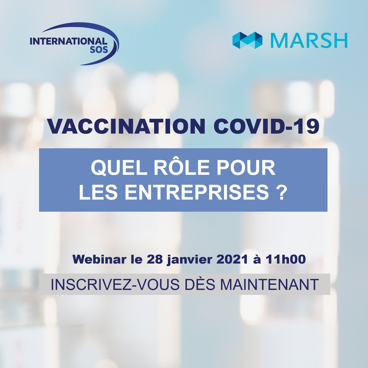📺 [WEBINAR 28/01] #vaccination #COVID19et rôle des entreprises  Le Dr Philippe Guibert, Directeur Médical Régional et Consulting Santé pour @International SOS , vous répond dans ce webinar co-organisé avec @Marsh France.    Inscrivez-vous ici👉 : https://t.co/ZUgXQ9rN0Z https://t.co/dVcfRzzPiB
