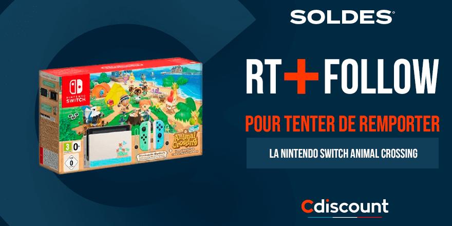 #Concours 🎁  C'est le premier jour des #CdiscountSoldes ! On fête ça avec une Nintendo Switch Animal Crossing à gagner :   Pour tenter ta chance :  🔹 RT + Follow @Cdiscount  🍀 TAS le 25/01
