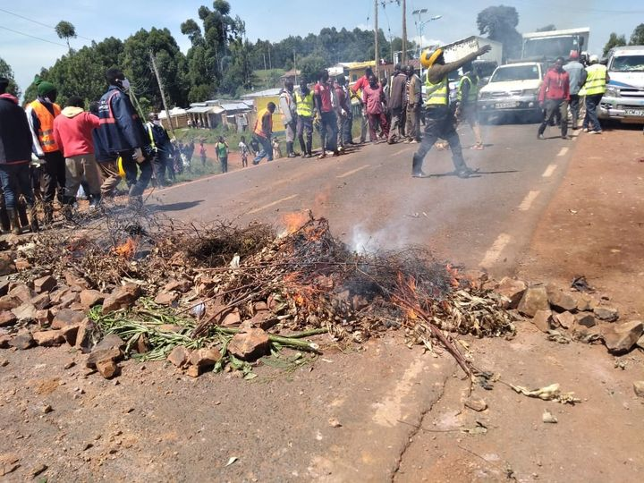 Boda Boda riders block the Kisii-Sotik road after one of them was hit by ENA Bus at Nyansira, Kisii County.    #wednesdaythought