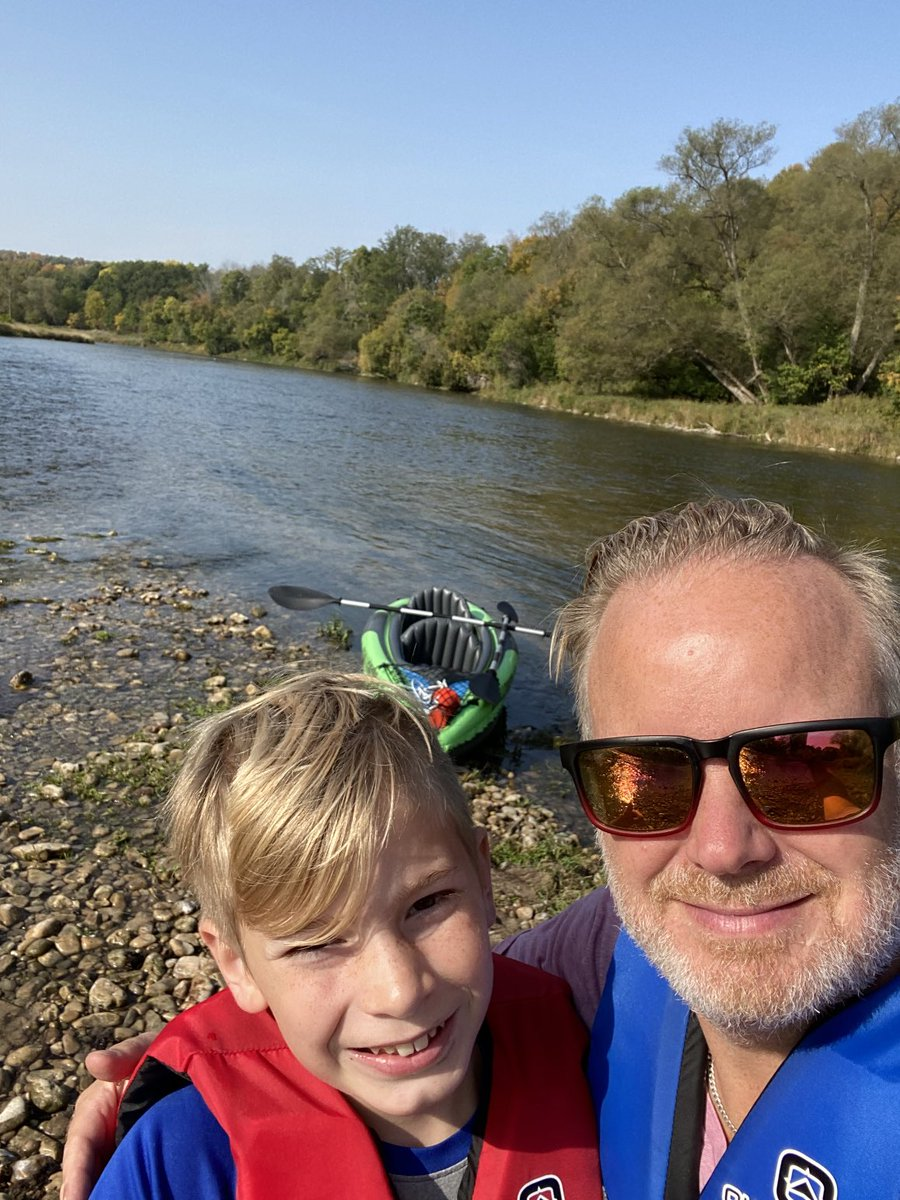 This was such a beauty day with my son Lucas - makes me smile every time I look at it.  Here's what we did:  -  drive to Cambridge ) 🚙 - inflate and launch kayak 🛶 - float and paddle for 4 hrs down the Grand River ☀️ - end in Paris 🙏  #Memories