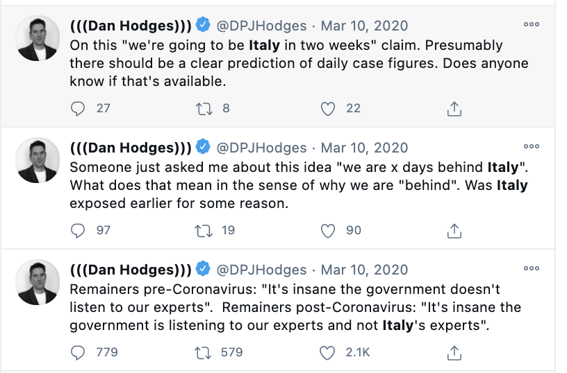 One of the reasons Britain has one of the worst death tolls on earth is that senior journalists not only actively defended our government's catastrophic strategy in March 2020 - they actively ridiculed anyone who challenged it.  Dan Hodges' own tweet more than applies to him.