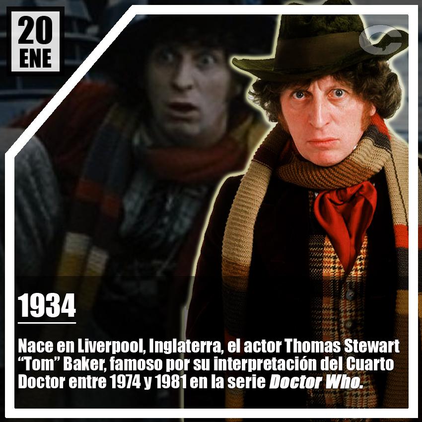 #UnDíaComoHoy hace 87 años nació Tom Baker, a quien recordamos como el Cuarto #DoctorWho, ¿cuál de sus episodios es tu favorito?  #efeméridesñoñas