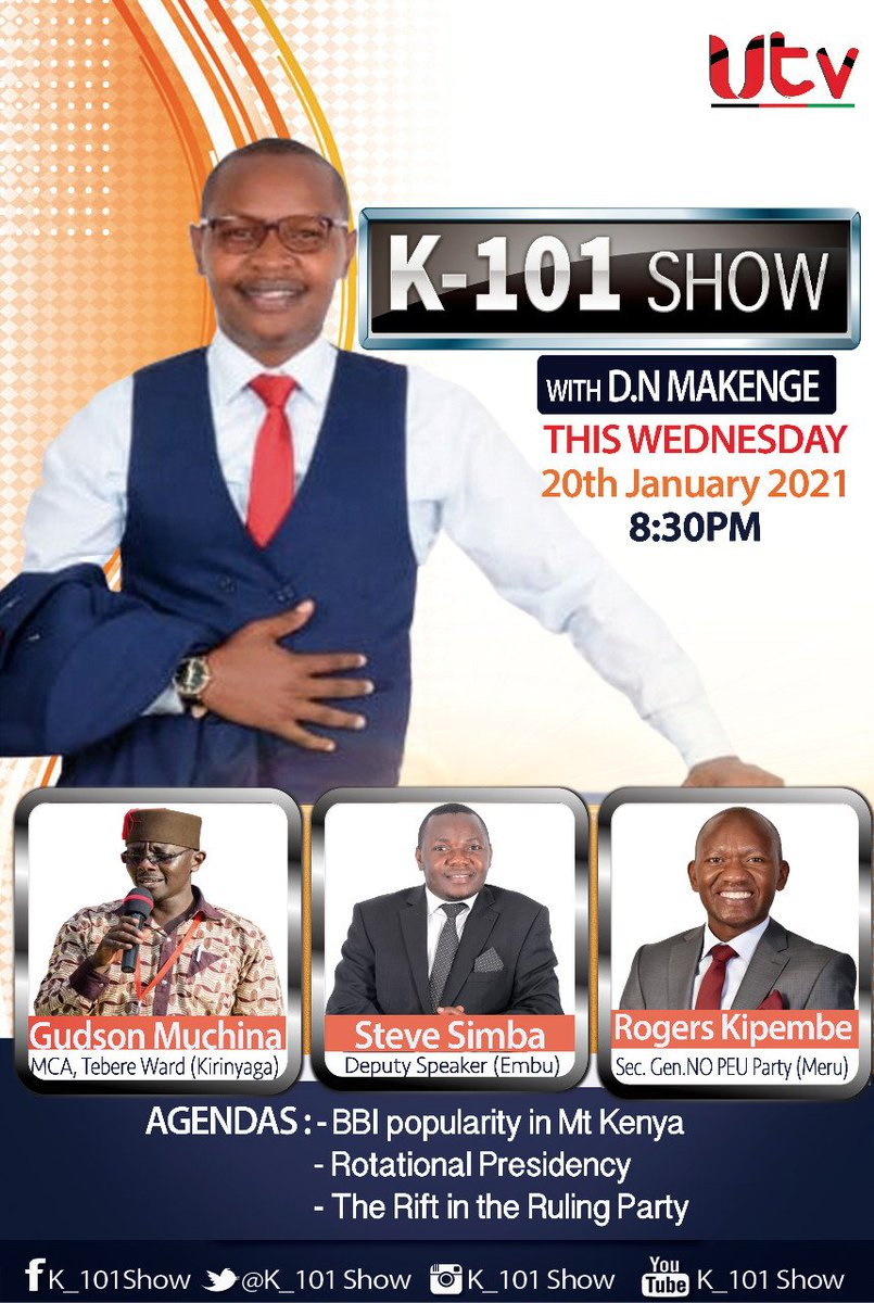 Join us tonight at 8:30PM on #K101SHOW @kenya_utv as we discuss political developments with @NOPEU_Ke Party Sec. General @RodgersKipembe, Tebere Ward MCA @teberegroup and Embu Deputy Speaker @steveSimba2  #InaugurationDay  #LampardOut