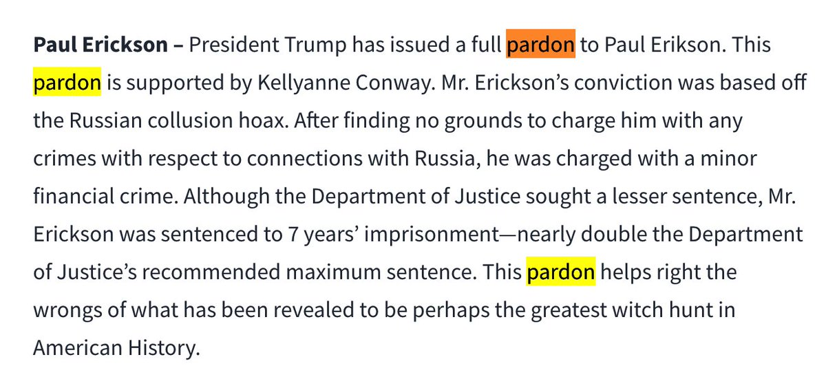 After shit like this, I never want to hear another word about law and order from these clowns again. #Pardons