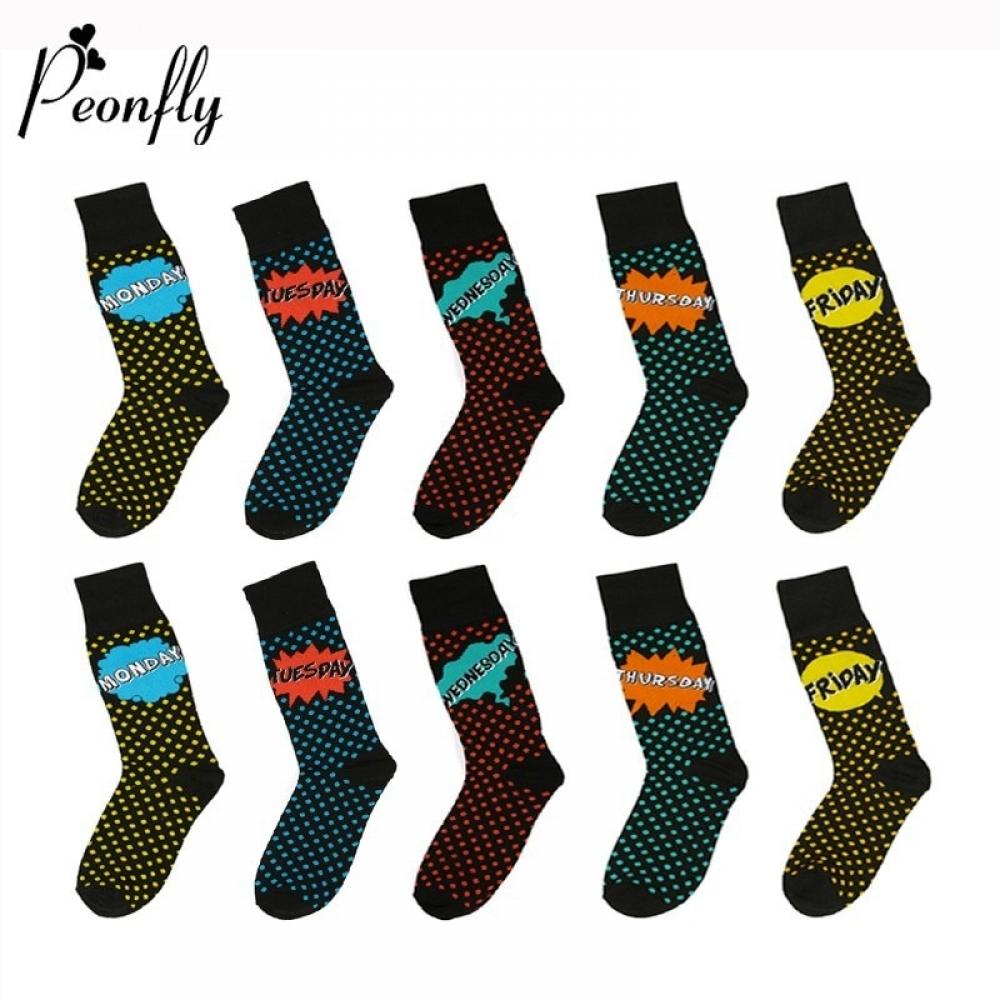 PEONFLY Winter New Fashion Cute Wave Point Cotton Men Sock Funny Week Date Monday-Friday Novelty Letter Breathable Hip-hop Socks  #fashion|#tech|#home|#lifestyle