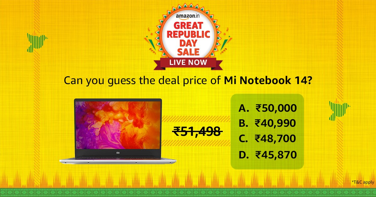 A correct guess and you win the Amazon Gift Voucher. Guess the deal price and share it with us @amazonIN and use #AmazonGreatRepublicDaySale #NewBeginningsBigSavings  T&C: