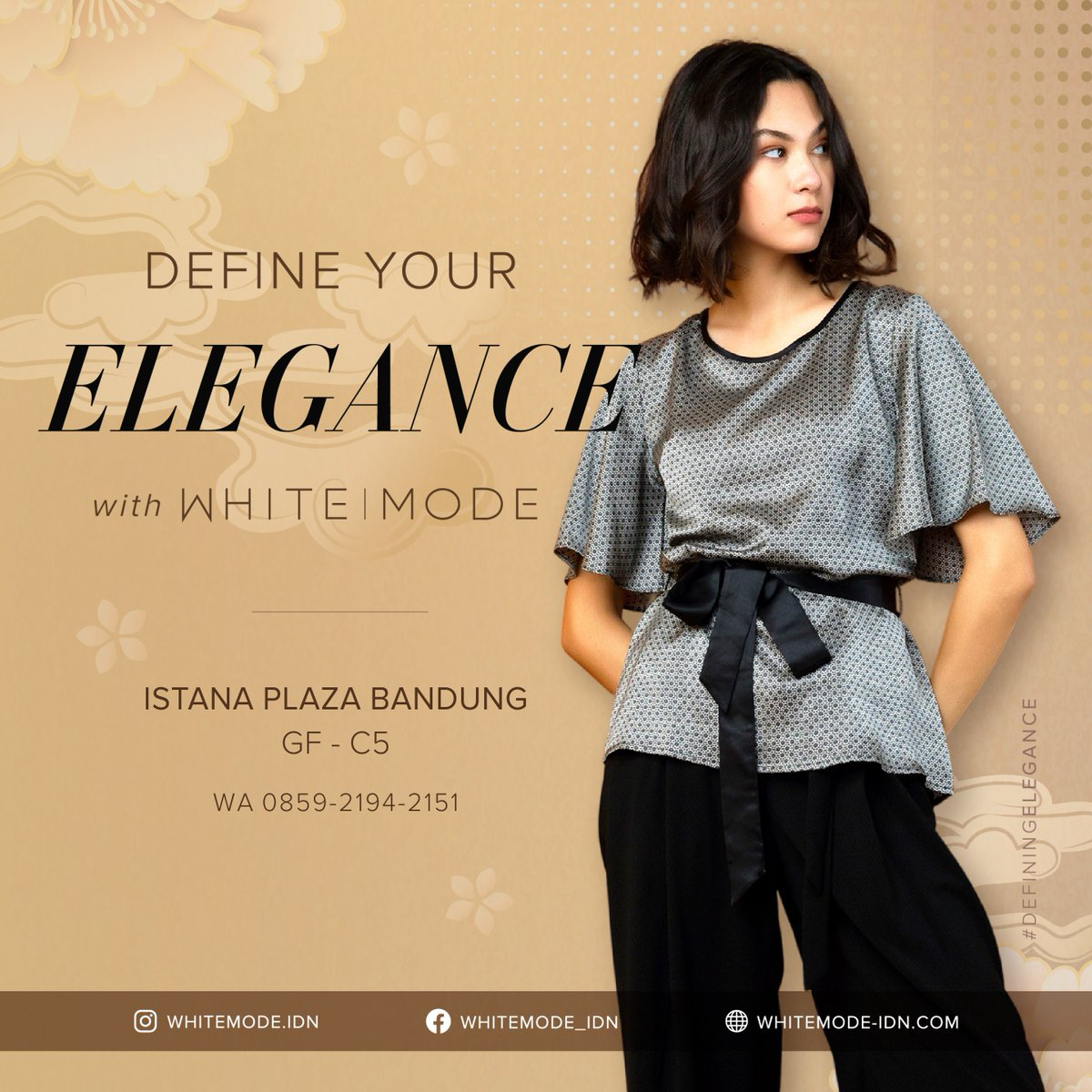 What you wear is how you present yourself to the world 🖤 Let's define your style with WHITE|MODE Visit our store and get yours, Ladies!  @whitemode.idn @whitemode.catalog  #definingelegance #elegantstyle #whitemode #fashion