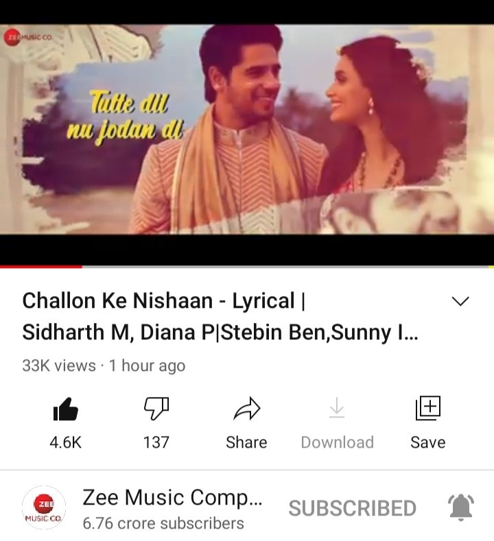 #challonkenishaan lyrical video check it now to tap this link   @SidMalhotra @DianaPenty @BoscoMartis @ZeeMusicCompany