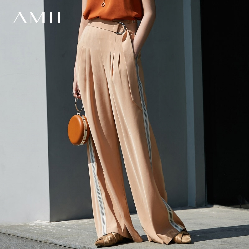 #amazing #instamood Amii Minimalist Chiffon Wide Leg Pant Summer Women Solid Loose Female Side Stripe Long Pant 11940318