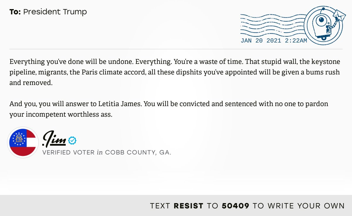 📬 I delivered this ✉️ from Jim, a 🗳 verified voter in Marietta, Ga., to @realDonaldTrump #GA11 #GApol  📝 Write your own:
