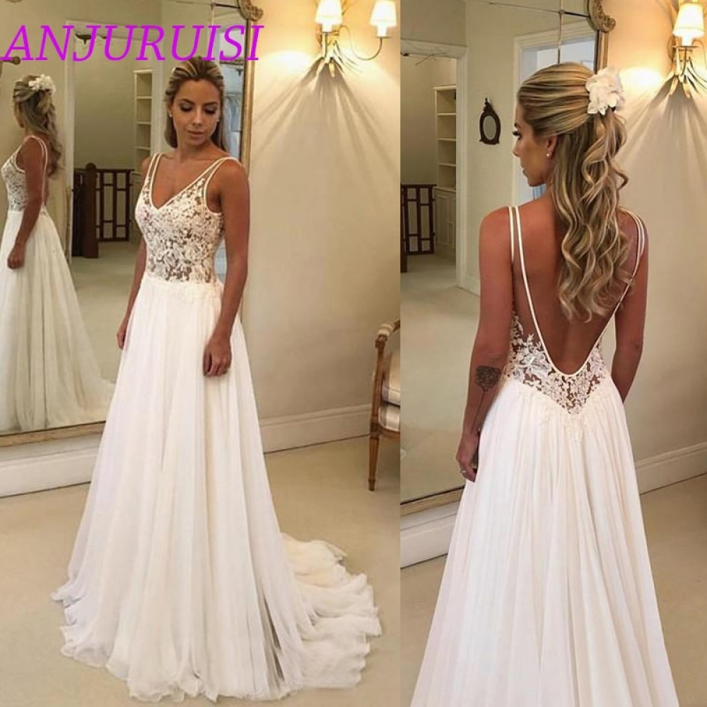 #amazing #instamood Beach Wedding Dresses Lace Appliques V Neck