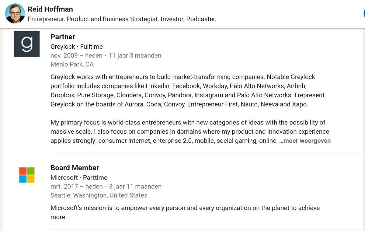 @MauricevdBosch Reid Hoffman, co-founder #LinkedIn, is o.a. boardmember Microsoft (BillGates 😉). Toeval dat elke oppositie tegen #vaccineren/#virussen verwijderd worden van social media? Bent u al wakker genoeg meneer @MauricevdBosch van het OlV?🤔