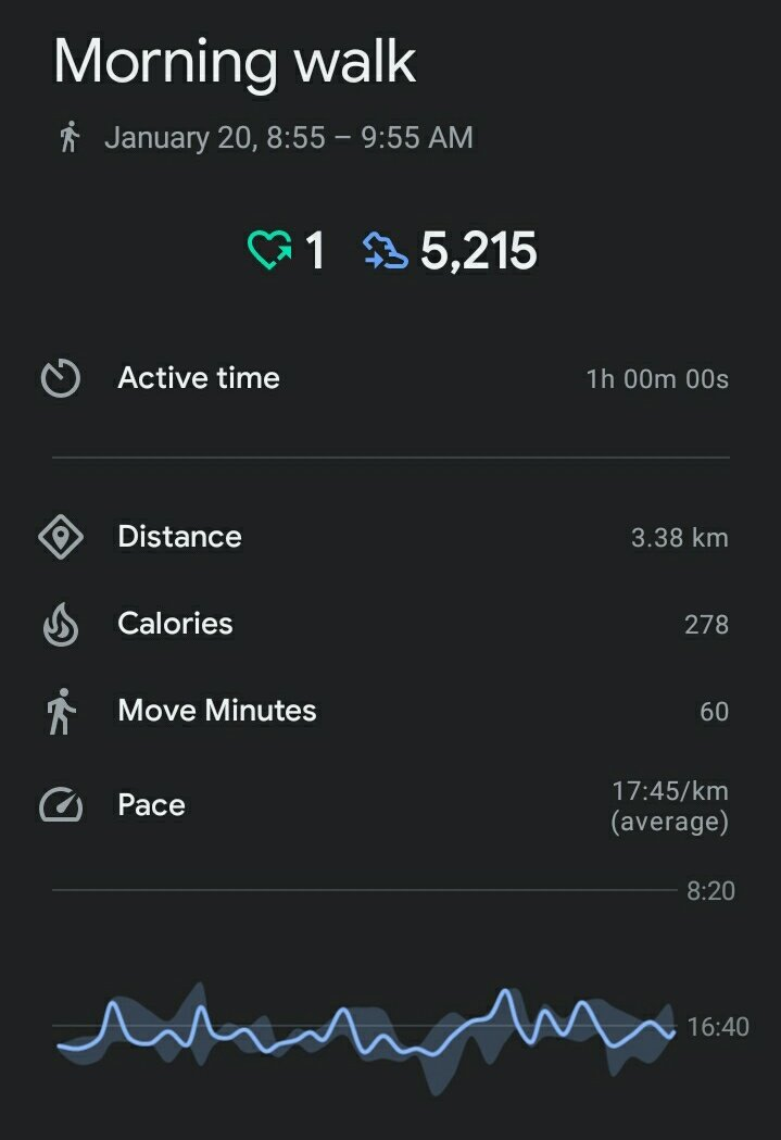 Simple way to stay healthy.  DAY 1 : 5k steps done ✅💯👍🏻  #GoogleFit #FitnessGoals #100DaysOfWalking 🎯