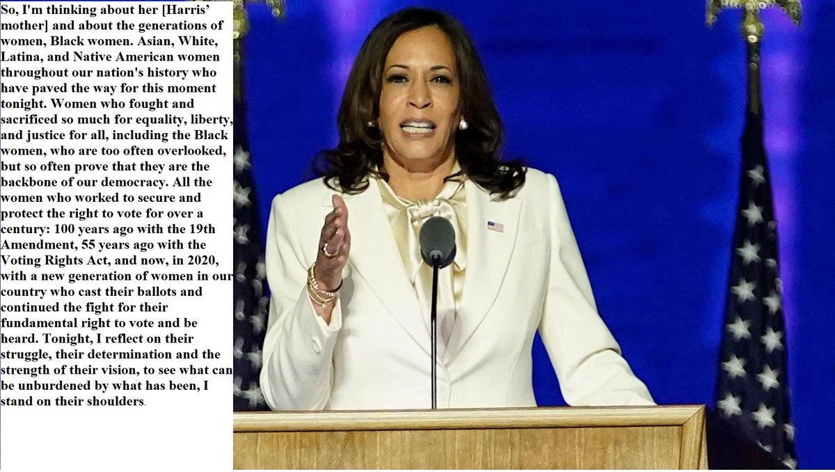 Heute wird Kamala Harris als erste Frau, als erste Schwarze und als erste Asian-American ins Weiße Haus einziehen. Sie selbst sprach in ihrer Siegesrede von den vielen Frauen, auf deren Schultern sie stehe. Ich möchte Euch heute ein paar dieser Pionierinnen vorstellen: