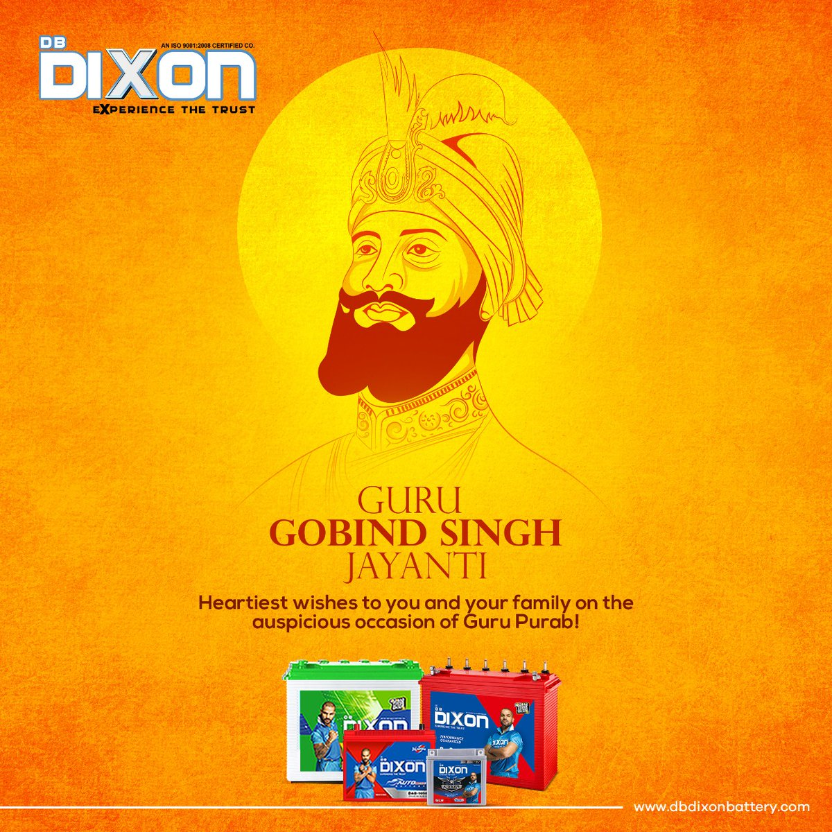 On this pious occasion of Guru Gobind Singh Jayanti let us imbibe the teachings of the Guru and grow in compassion and love. Visit us: https://t.co/5YH90RPVBM Call us: 9110794134 #DBDixonBattery  #ExperienceTheTrust #TubularBatteries #gurupurab #GuruNanakJayanti #gurunanakdevji https://t.co/jbns17Ltm3