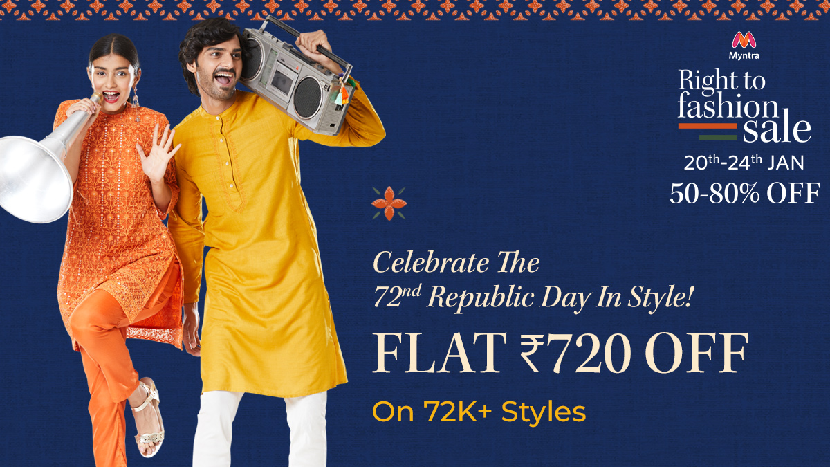 Celebrate the 72nd Republic Day in Style! Flat Rs. 720 off on over 72k Styles on the #Myntra Right To Fashion Sale is now LIVE. Over 50% to 80% off on your favourite fashion brands, from 20th to 24th January.   #MyntraRightToFashionSale #MyntraFashion