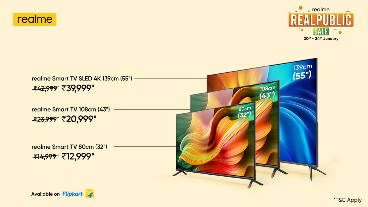 Entertainment begins at home. Avail super exciting deals* on the #realmeSmartTV range only at the #RealpublicSale, till 24th January. *T&C Apply Head here: