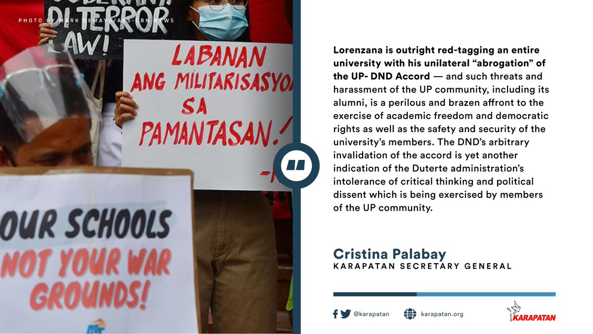 The UP-DND Accord is a product of the youth movement's struggle against the Marcos dictatorship and all forms of fascist attacks by State security forces, including those against UP's students, faculty, staff, and alumni. READ: karapatan.org/rights+group+s…