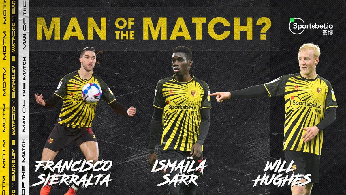 ¡Voten por el @Sportsbetio jugador del partido en nuestra victoria de ayer 1-0 sobre el @BarnsleyFC!   #WATBAR #watfordfc🐝