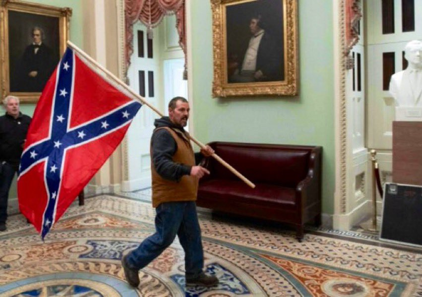 Comes Kevin Seefried to the Capitol Building  While all the cameras were filming  With a confederate flag This pillock scumbag  Deserves a proper judicial drilling.   #kevinseefried #USCapitol #CapitolAttack #MAGATerrorism #Accountability #AccountabilityBeforeUnity https://t.co/2HJhJaUdpS